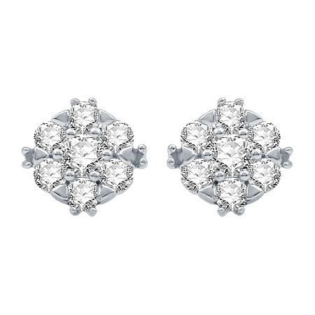 Ever Star 1/2 CT. T.W. Lab Grown Diamond 10K White Gold 8.2mm Stud Earrings, One Size , No Color Family