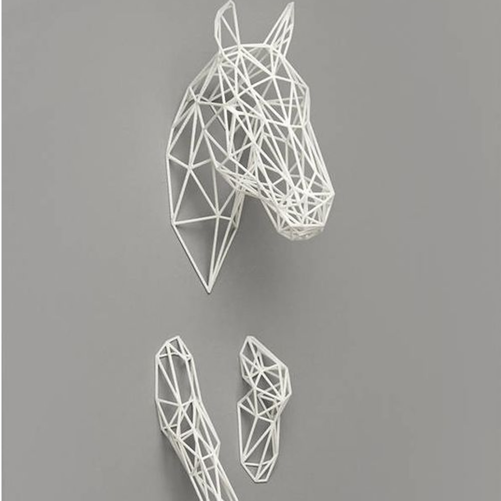 White Outlines of Horse Head and Foot Resin Handmade Wall Decor