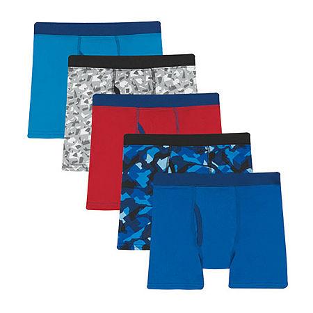 Hanes Little & Big Boys 5 Pack Boxer Briefs, Small , Blue