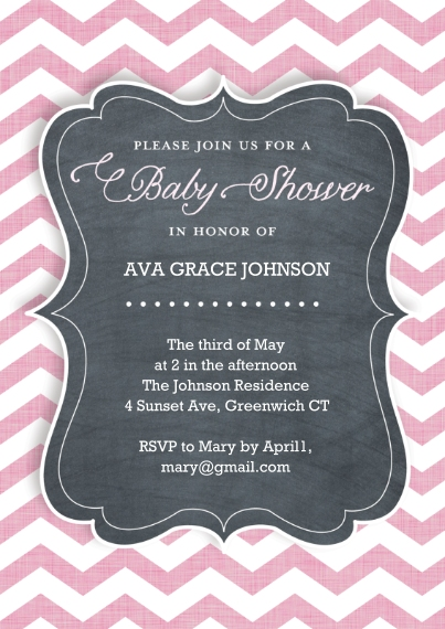 Baby Shower Invitations 5x7 Cards, Premium Cardstock 120lb with Scalloped Corners, Card & Stationery -Baby Shower Chevron