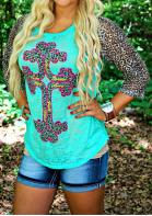 Leopard Splicing Cross Knit T-Shirt