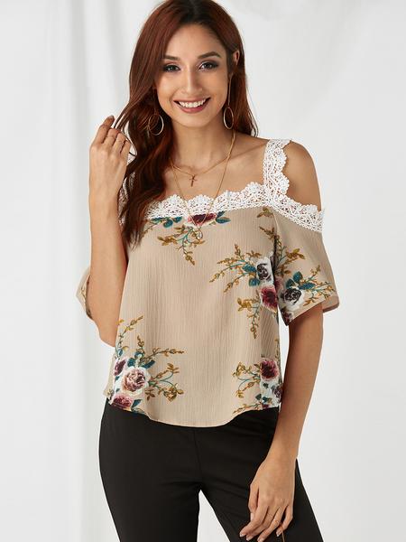 Yoins Khaki Random Floral Print Cold Shoulder Lace Trim T-shirt