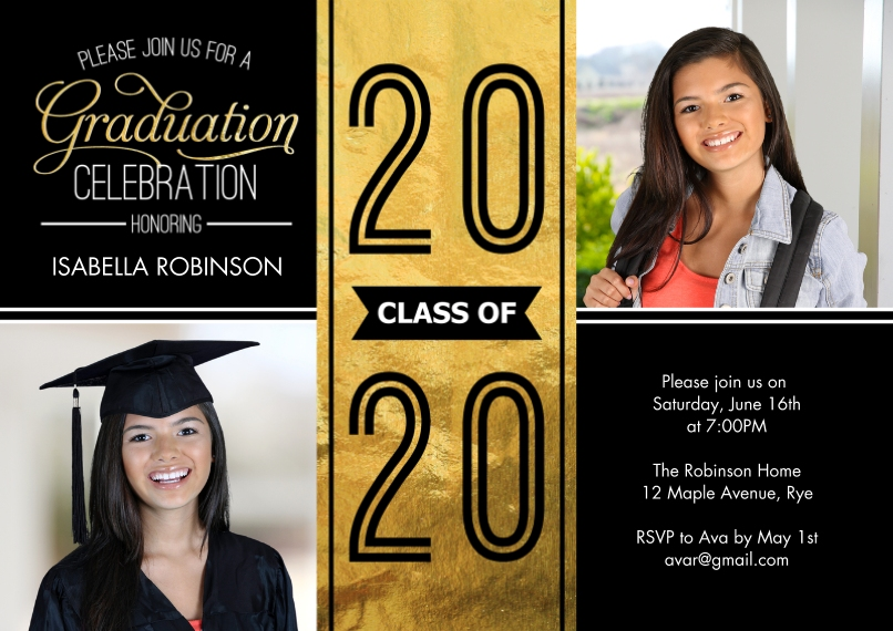 2020 Graduation Invitations 5x7 Cards, Premium Cardstock 120lb with Scalloped Corners, Card & Stationery -Grad 2020 Party Celebration by Tumbalina