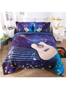 Vivilinen 3D Guitar with Musical Notation Printed 5-Piece Comforter Sets