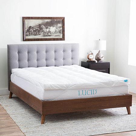 Lucid Plush Down Alternative Fiber Bed Topper, One Size , White