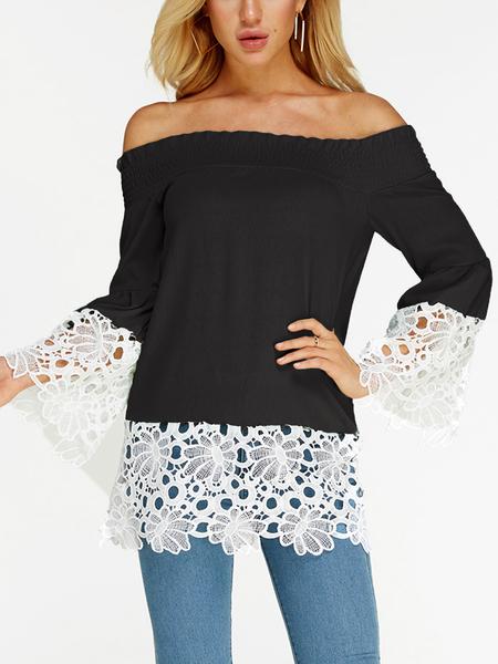 Yoins Black Lace Hem Off Shoulder Long Sleeves Blouse