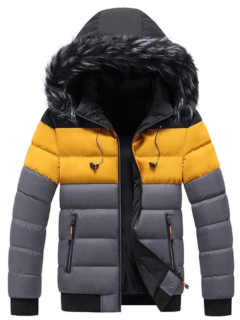 Ericdress Stand Collar Standard Color Block Zipper European Down Jacket