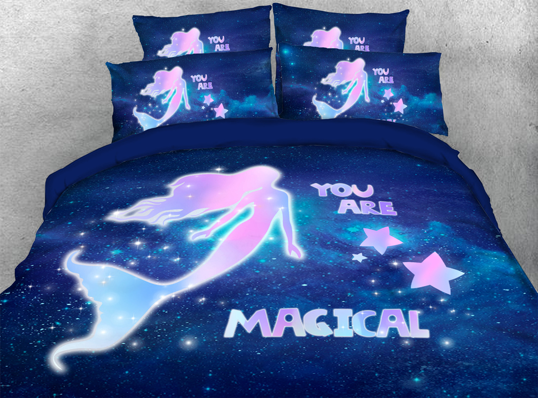 Mermaid and Galaxy 5-Piece Comforter Set Zipper Ties Colorfast/Wear-resistant/Skin-friendly Bedding Sets