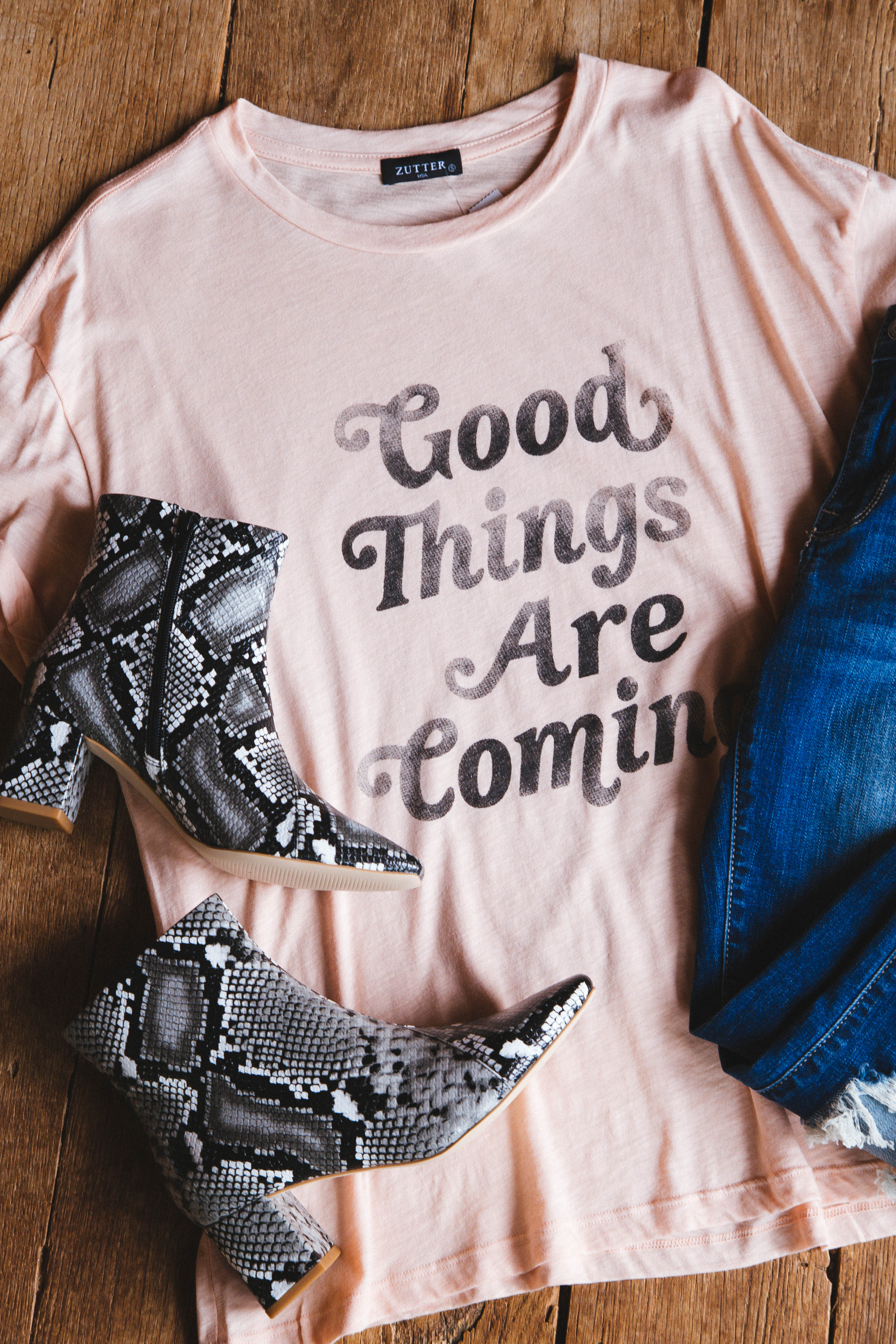 Good Things Are Coming Graphic Tee Peach