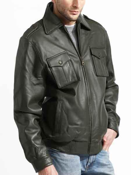 Men's Olive Zipper Closure Lambskin Leather Military Jacket