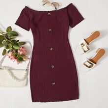 Off Shoulder Button Front Rib-knit Dress