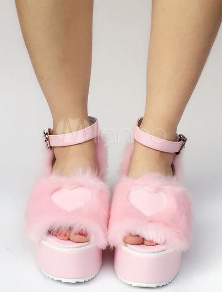 Milanoo Sweet Lolita Shoes Pink Faux Fur Heart Platform Wedge Open Toe Lolita Sandals