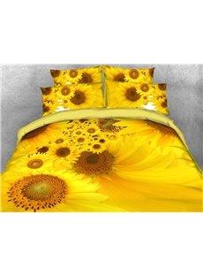 Yellow Sunflower Printed Cotton 3D 4-Piece Bedding Sets/Duvet Covers