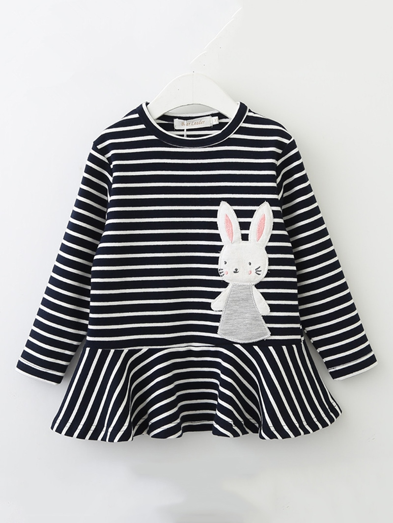 Ericdress Rabbit Pattern Striped Falbala Girl's Dress