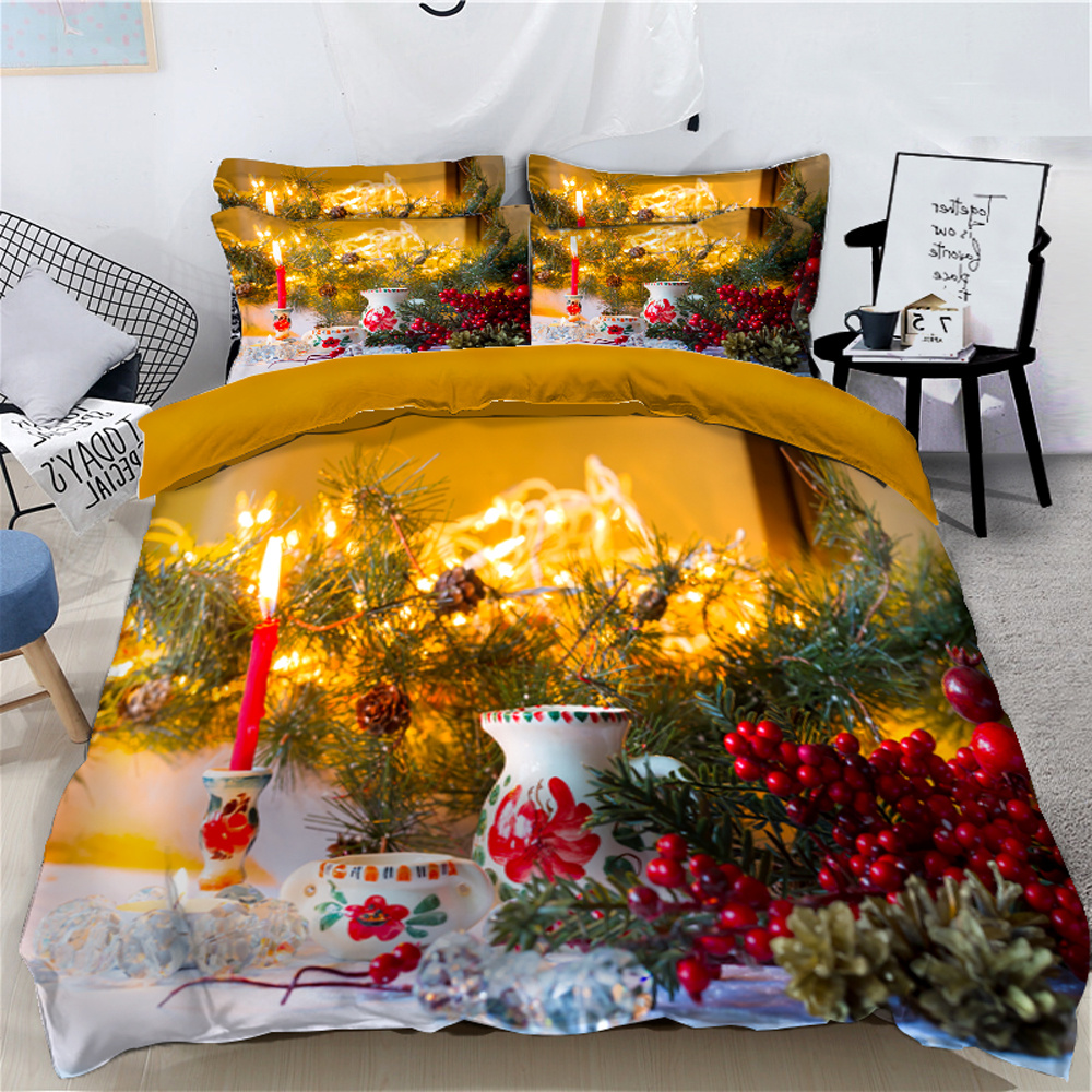 Decorated Christmas Tree and Stoves 3D 4-Piece Bedding Sets/Duvet Covers