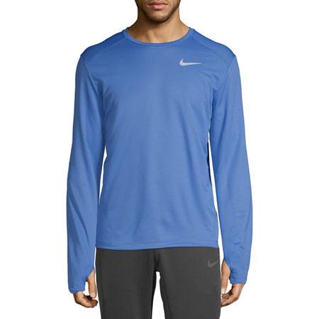 Nike Mens Crew Neck Long Sleeve T-Shirt, Xx-large , Blue