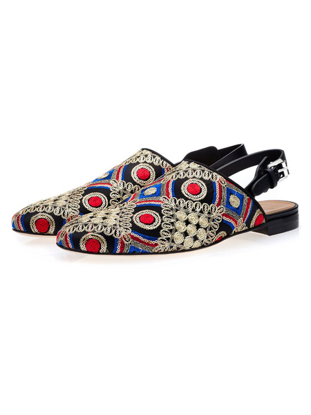 Milanoo Mens Black Loafers Round Toe Ethnic Embroidered Slingbacks Slipper Shoes Casual Shoes