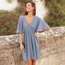 Rib-Knit Surplice Front Dress