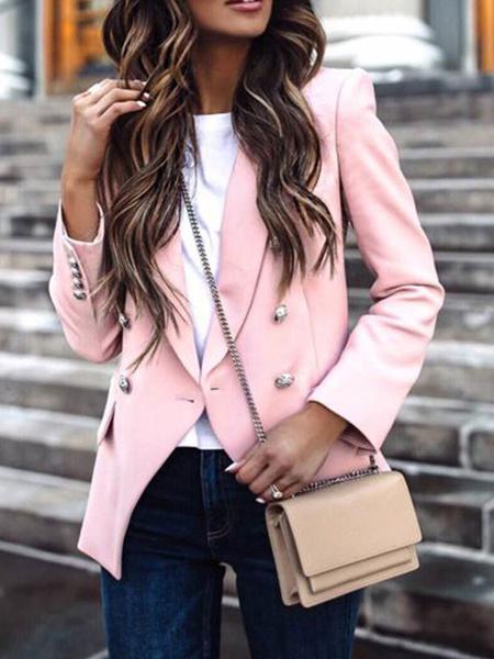 Milanoo Gold Buttons Blazer Long Sleeve Solid V Neck Suit Coat Jackets Blazer