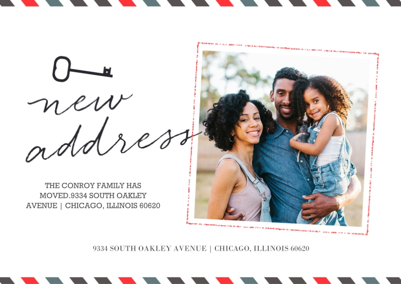 Moving 5x7 Cards, Premium Cardstock 120lb with Scalloped Corners, Card & Stationery -New Address Key