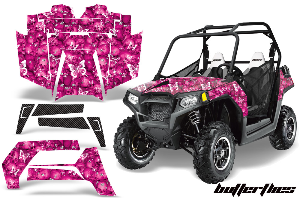 AMR Racing  Full Custom UTV Graphics Decal Kit Wrap Butterfly Pink Polaris RZR 800 11-14