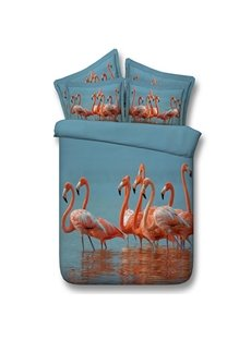 Chic Flamingos 3D Digital Printing 5-Piece Comforter Sets