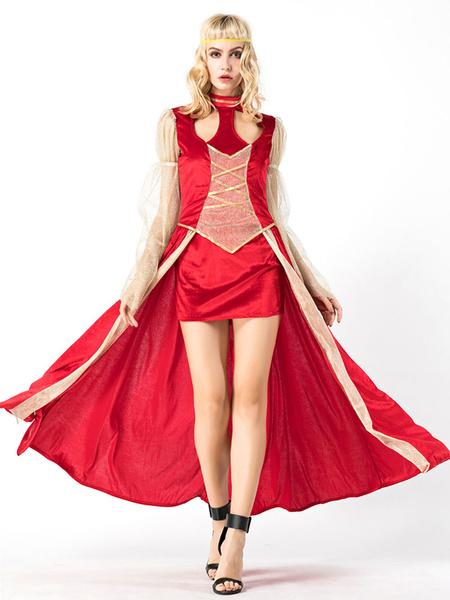 Milanoo Halloween Costumes Dress Red Women Royal Mardi Gras Set Holidays Costumes