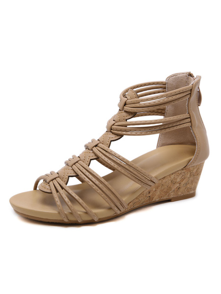 Milanoo Wedge Sandals For Women Gorgeous Lace Up Artwork Breathable