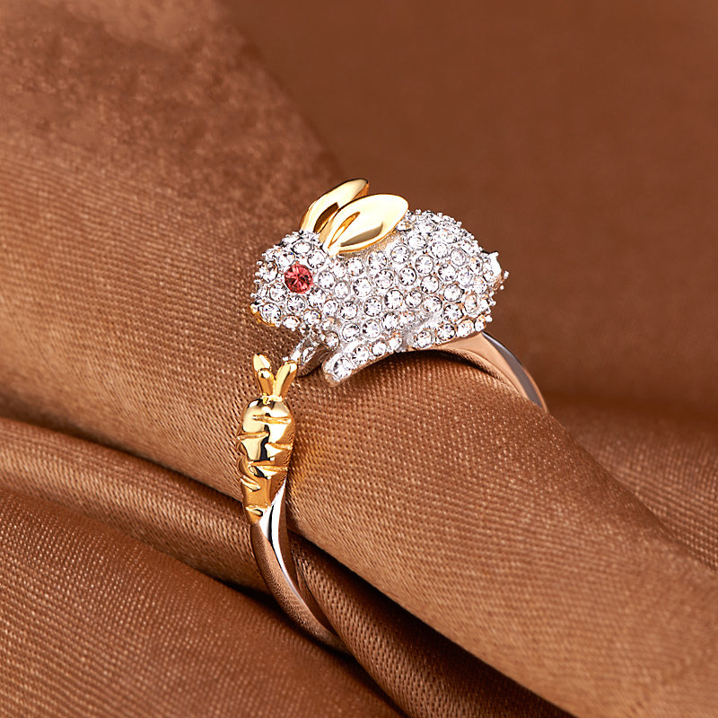 Cute Chinese Zodiac Stylish Gold Rings Animals Wedding Diamonds Silver Rings Gift for Girls Women
