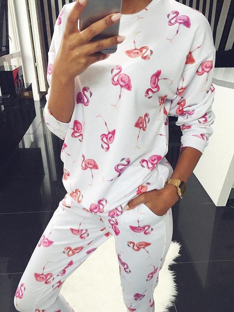 Ericdress Polyester Print Animal Long Sleeve Regular Pajama Suit