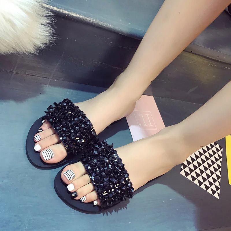Ericdress Rhinestone Flip Flop Flat Women's Slippers