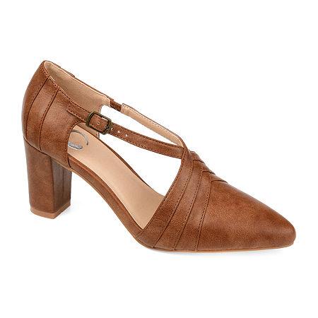 Journee Collection Womens Sandra Pointed Toe Block Heel Pumps, 11 Medium, Brown
