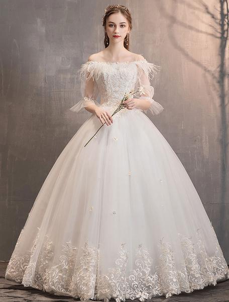 Milanoo Princess Wedding Dresses Tulle Ivory Off The Shoulder Lace Applique Floor Length Bridal Gown