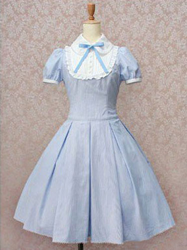 Milanoo Classic Lolita Dress OP Light Sky Blue Short Sleeve Cotton Lolita One Piece Dress