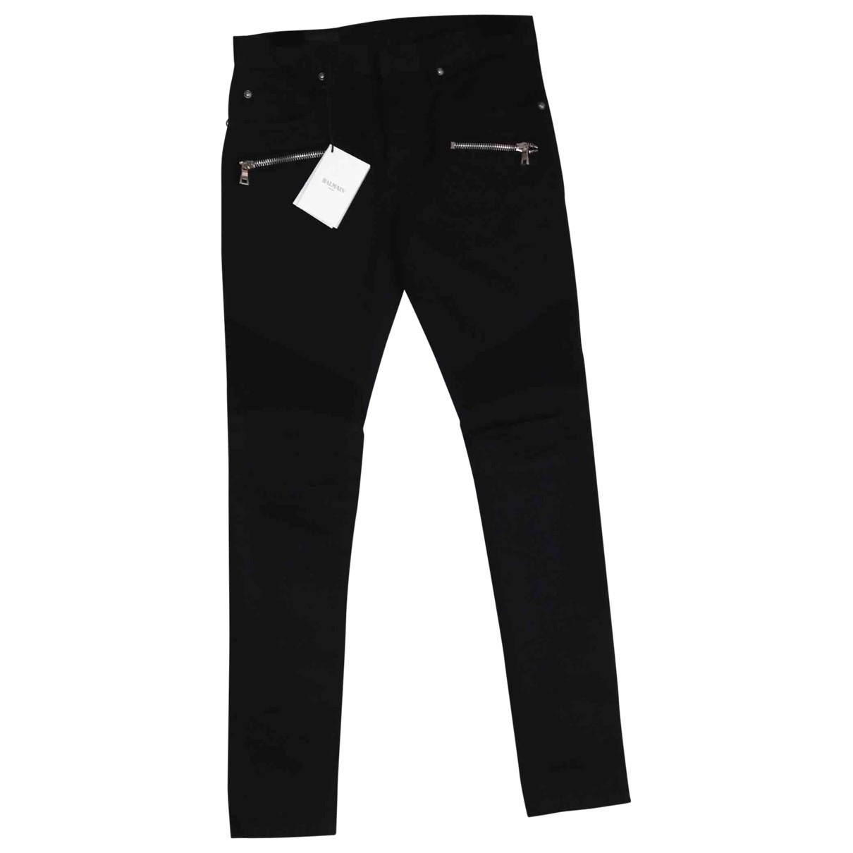 Balmain \N Black Cotton Trousers for Men 30 UK - US