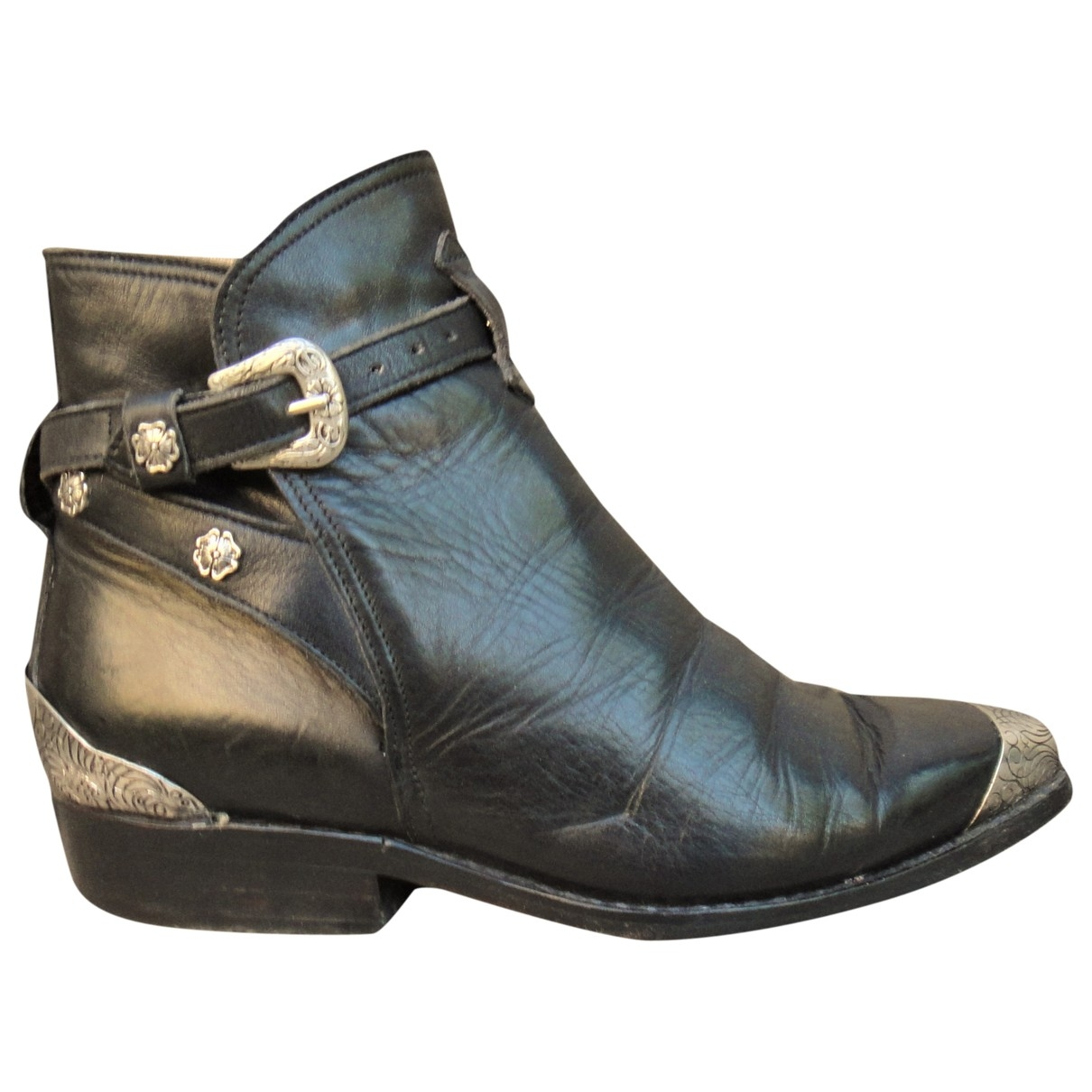 Sartore \N Black Leather Ankle boots for Women 35 EU