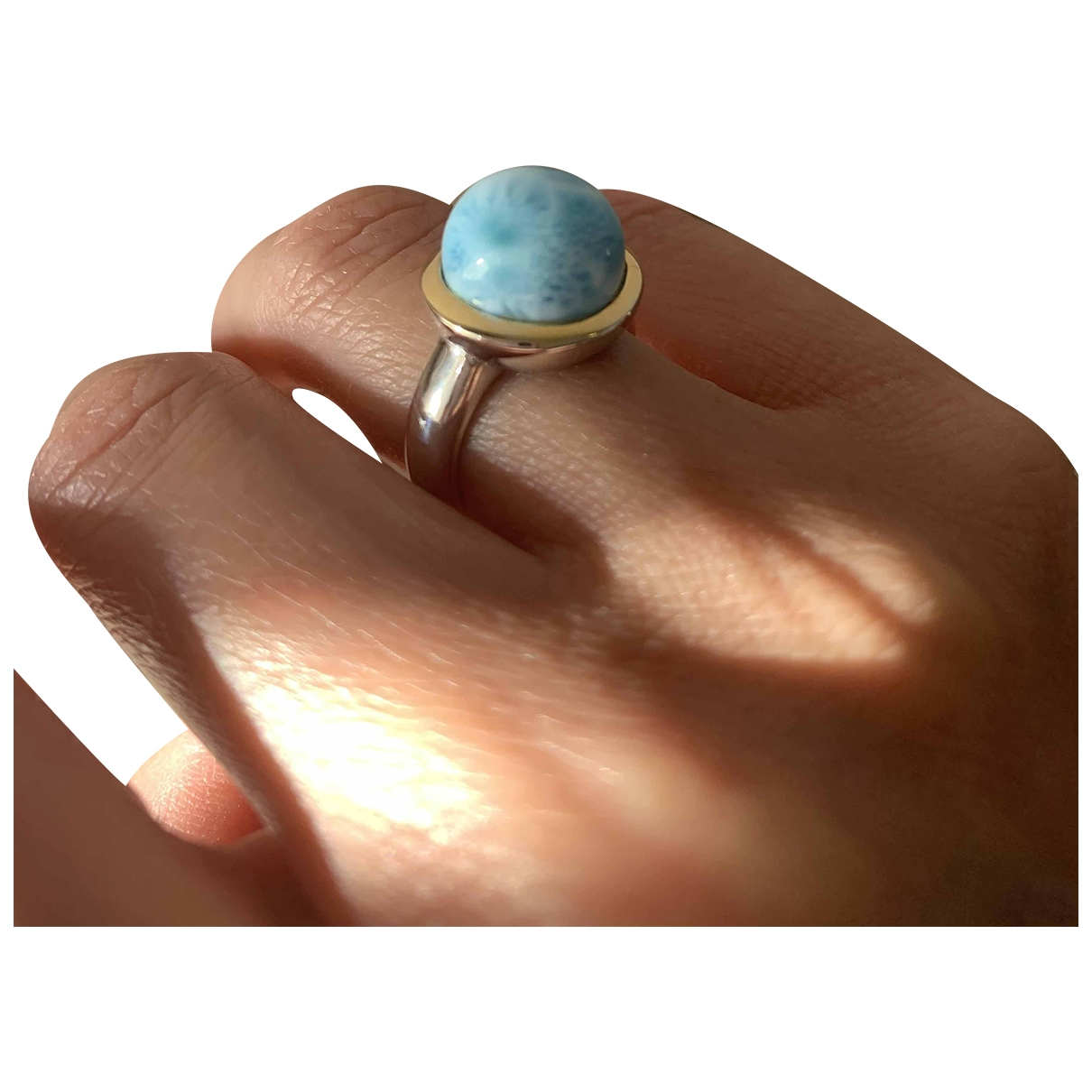 Non Signé / Unsigned Turquoises Blue Silver ring for Women 51 EU