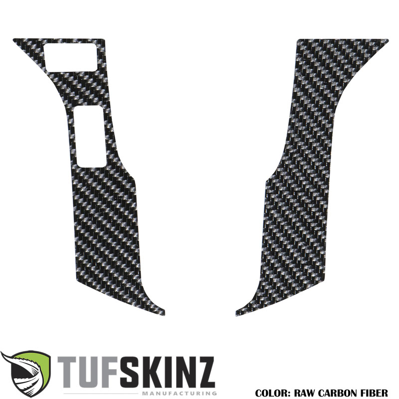 Tufskinz TAC037-RCF-X STEERING WHEEL TRIM WITH 2 BUTTONS Fits Toyota Models 2 Piece Kit Raw Carbon Fiber