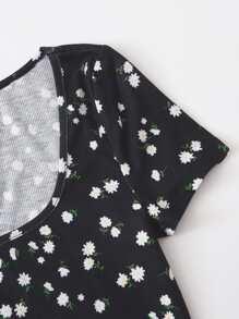Floral Print Rib-knit Crop Top