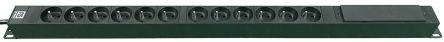 RS PRO 3m 12 Socket NF Euro Socket Extension Lead, 250 V ac, Black