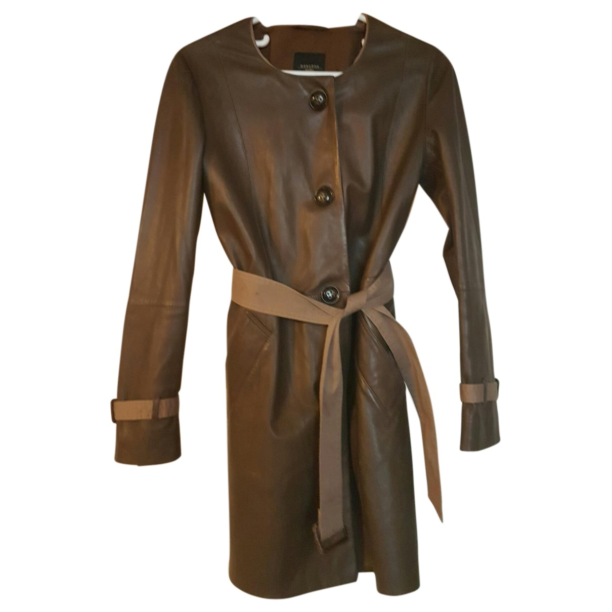 Max Mara \N Brown Leather Trench coat for Women 40 IT