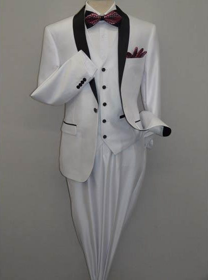 Men's Shawl Tuxedo Slim Fitted 3 Piece Two Toned Shiny White Suit