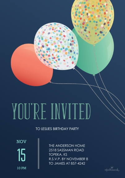 Birthday Party Invites Flat Glossy Photo Paper Cards with Envelopes, 5x7, Card & Stationery -HMK_YoureInvitedBalloons_5x7_FlatCard_01