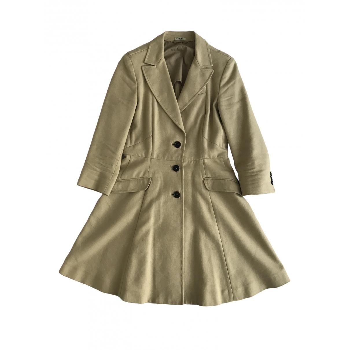 Miu Miu \N Ecru Cotton coat for Women 40 IT