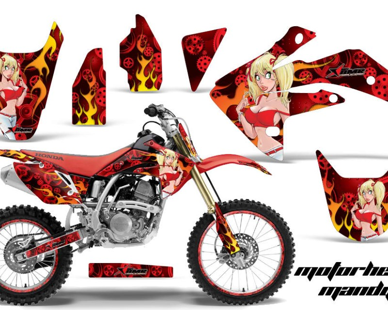 AMR Racing Graphics MX-NP-HON-CRF150R-07-16-MM R Kit Decal Sticker Wrap + # Plates For Honda CRF150R 2007-2016áMOTO MANDY RED