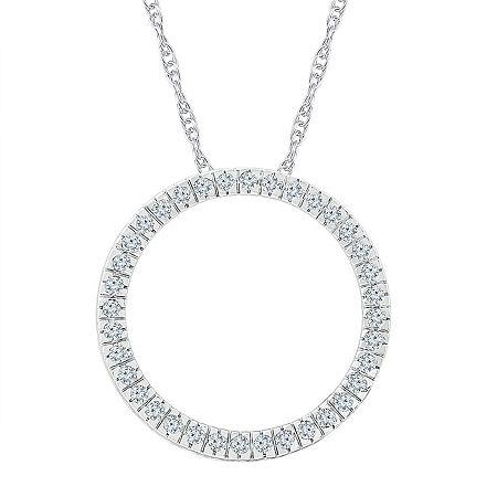 Womens 1/2 CT. T.W. Genuine White Diamond 10K White Gold Pendant Necklace, One Size , No Color Family