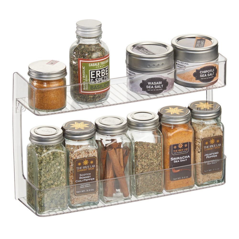 2 Tier Plastic Wall Mount Kitchen Spice Organizer Rack, by mDesign