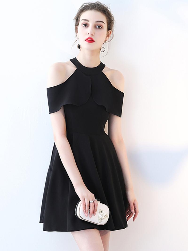 Ericdress A-Line Open Shoulder Mini Black Homecoming Dress