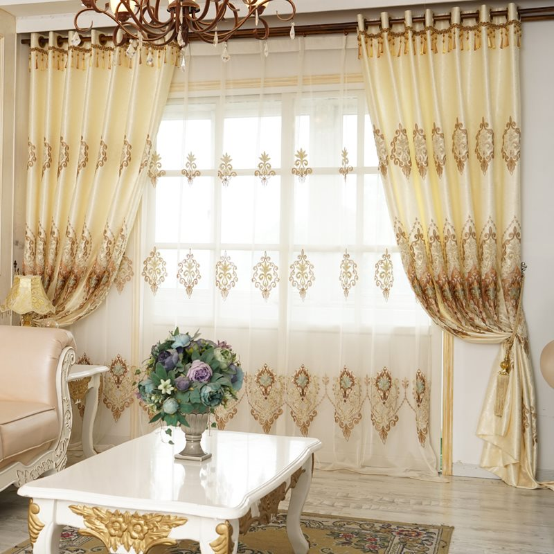 European Style Elegant Beige High-Quality Living Room Custom Sheer Curtains