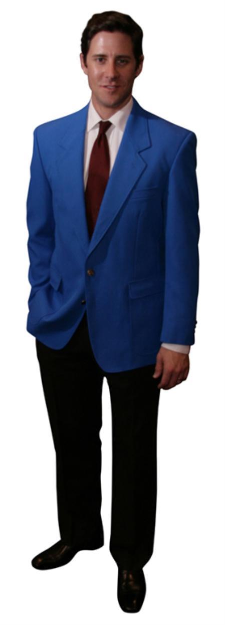 Single Breasted 2 Button Solid Royal Blazer